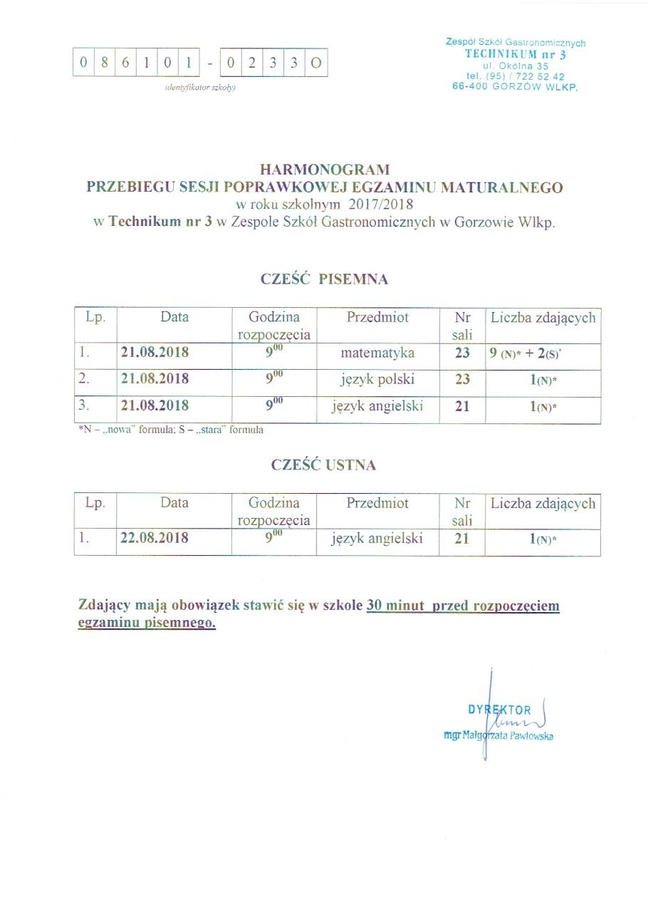 Harmonogram sesji poprawkowej egz.maturalnego VIII 2018