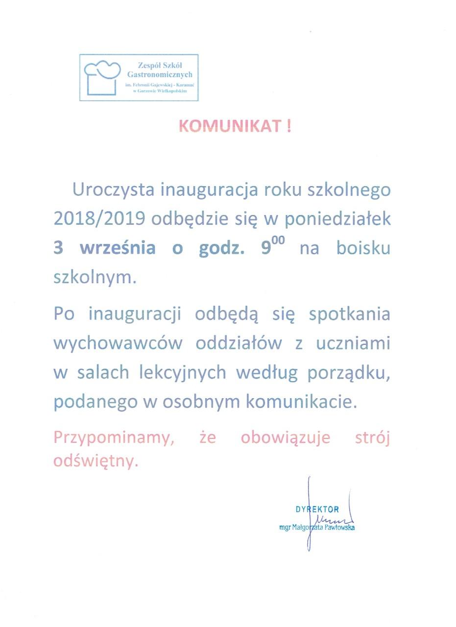 KOMUNIKAT Rozpoczęcie roku szkolnego 2018-2019