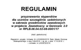 """REGULAMIN STYPENDIÓW W PROJEKCIE """"ZAWODOWCY 2.0"""""""