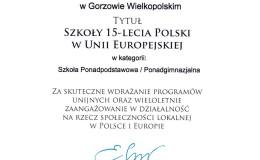 SZKOŁA 15-LECIA POLSKI w UNII EUROPEJSKIEJ