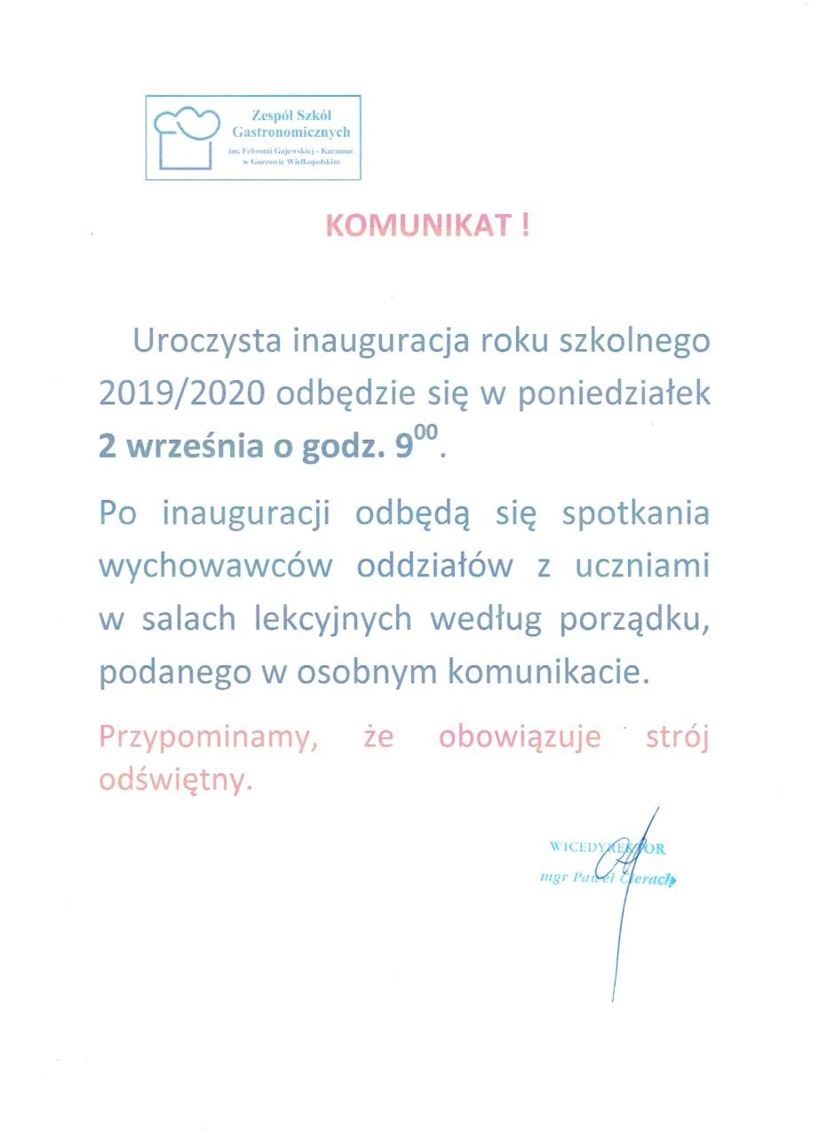 KOMUNIKAT rozpoczęcie roku szkolnego 2019-2020.doc 1